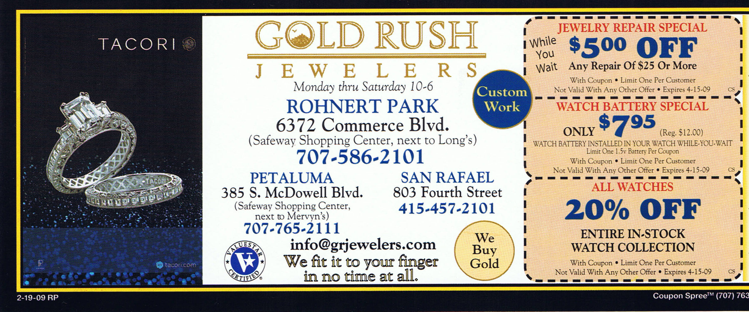 Weekly specials coupon gold rush jewelers for Jewelry repair san rafael