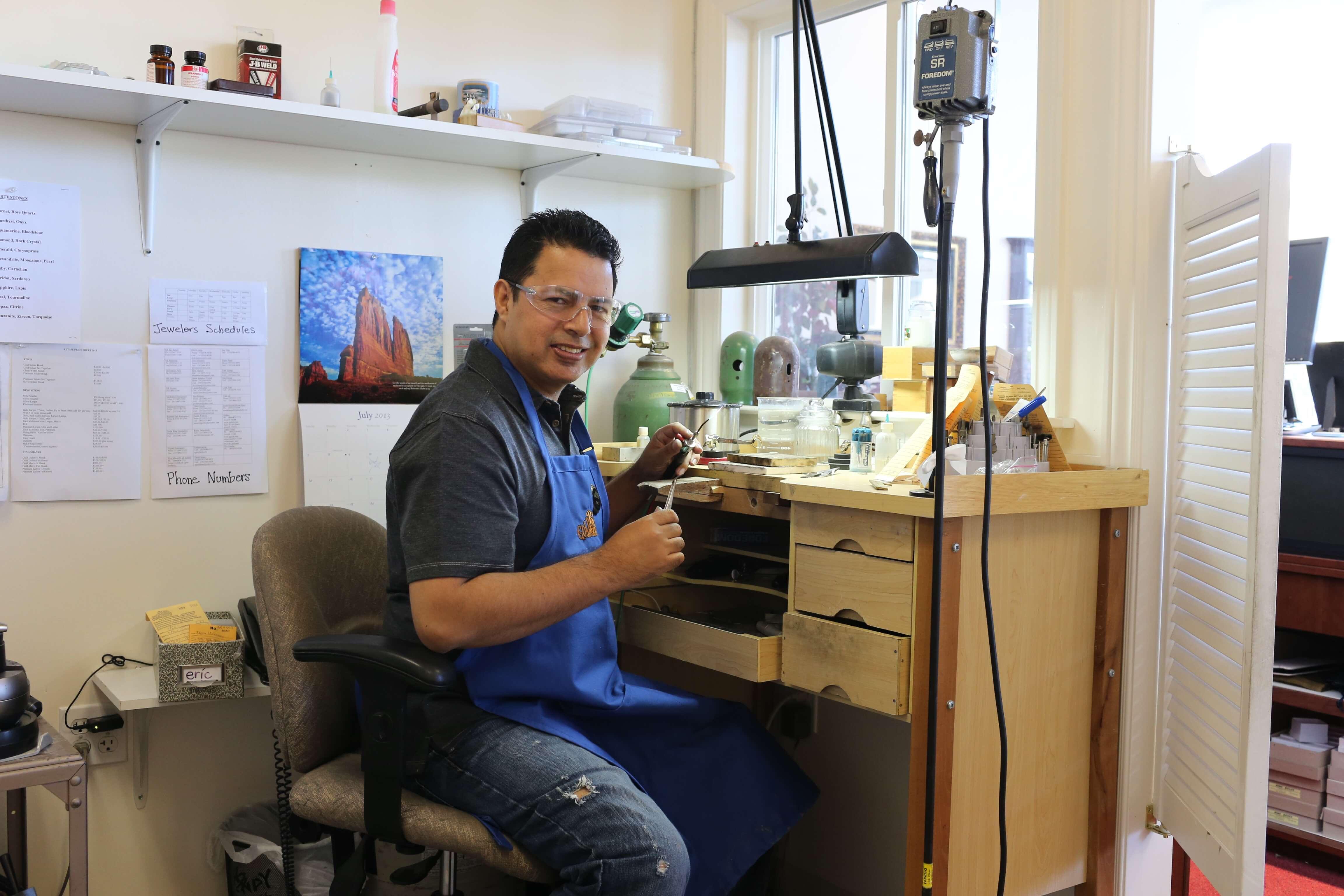 Jeweler working at Gold Rush Jewelers in Novato, CA