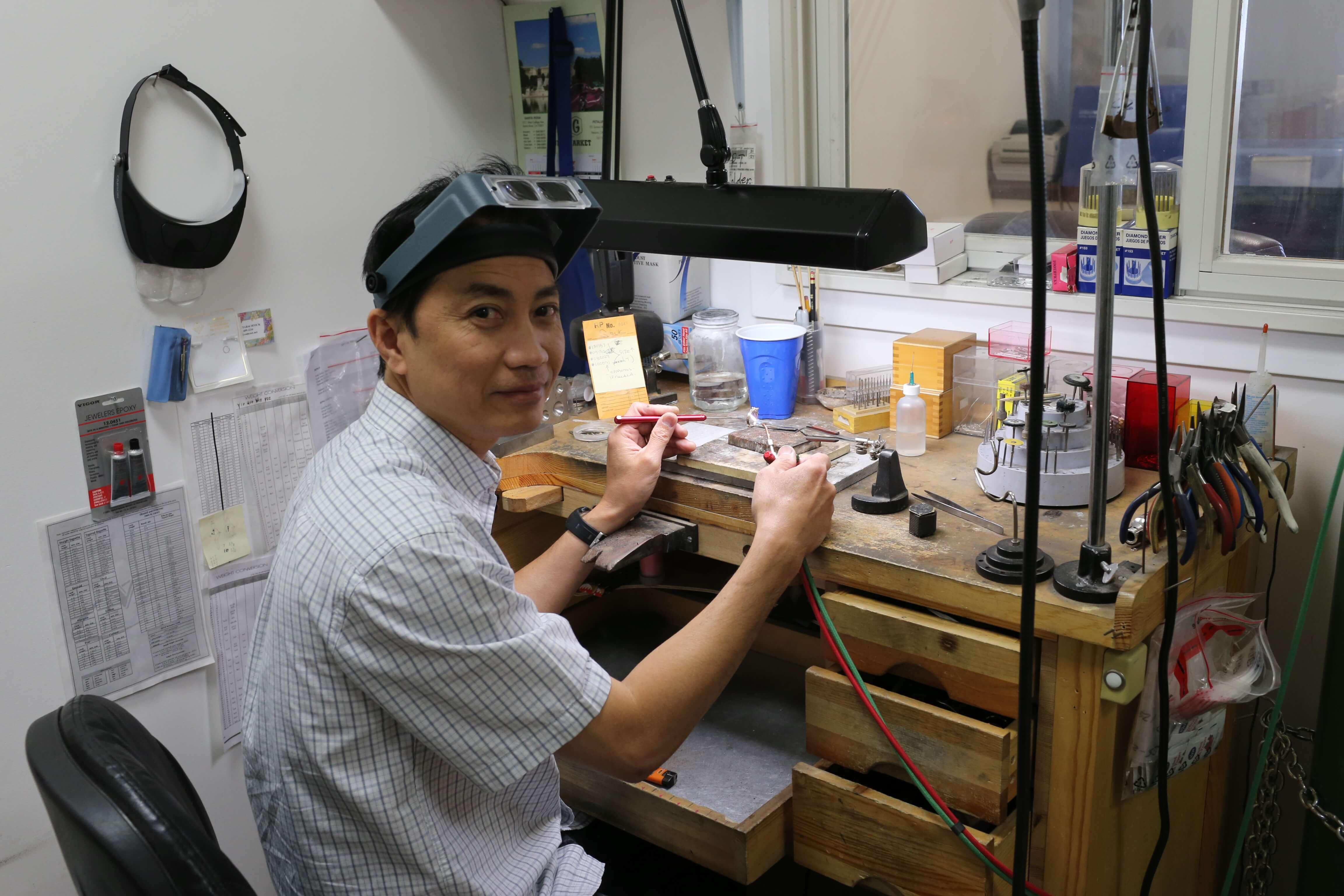 Jeweler working at Gold Rush Jewelers in Santa Rosa, CA