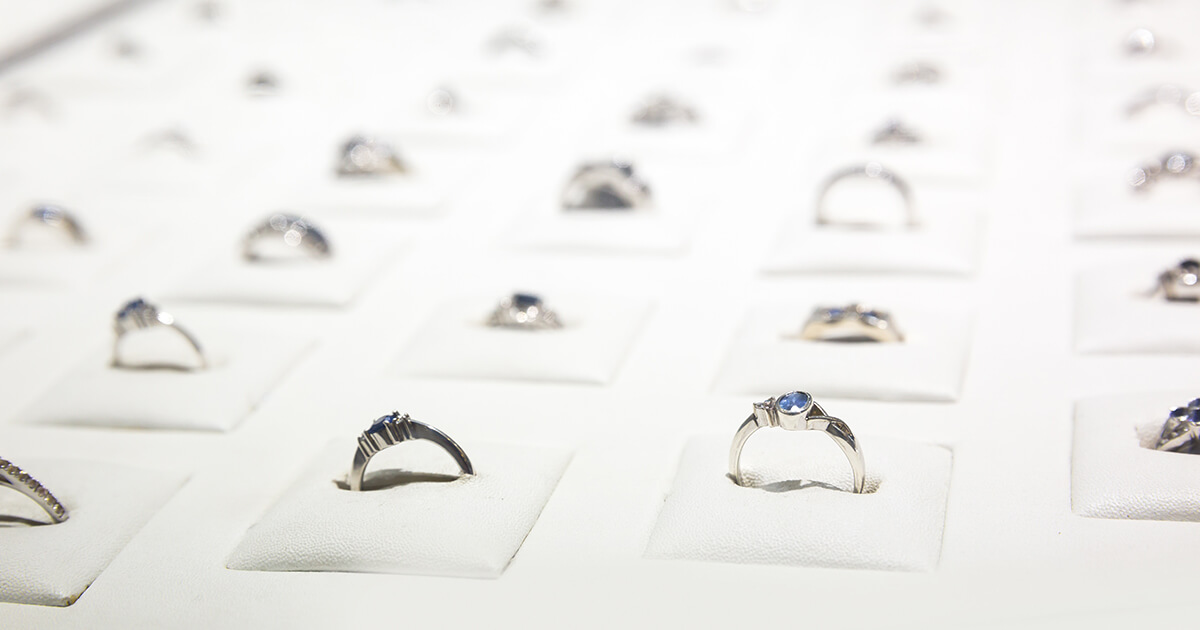 Jewelry products. Rings displayed in a jewelry store
