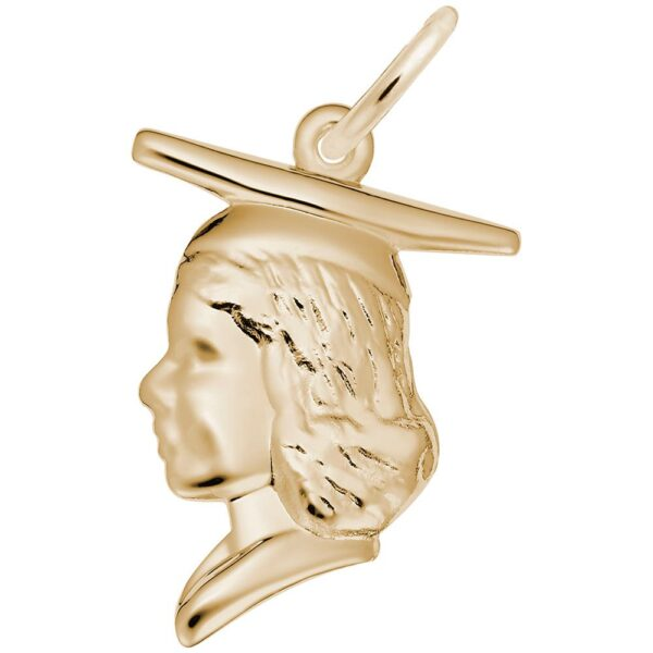 Gold Graduation Person with Cap Charm